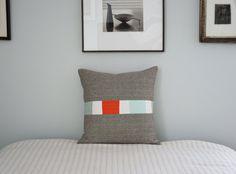 Modern Throw Pillow -  Linen Triptych