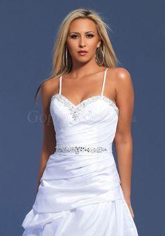prom dress,prom dresses,prom dress,prom dresses     chic baby doll taffeta spaghetti straps ruched short white prom dress