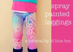 DIY Clothes Refashion: DIY Spray Painted Leggings