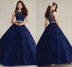 2016 New Two Pieces Lace Quinceanera Dresses Jewel Appliques Beads Ball Gown Sweet 15 Modest Dark Navy Modest Prom Party Gowns Vestidos Two Piece Quinceanera Dresses, Mexican Quinceanera Dresses, Prom Dresses Two Piece, Quencenera Dresses, Quince Dresses, Girls Dresses, Long Gown Dress, The Dress, Long Gowns
