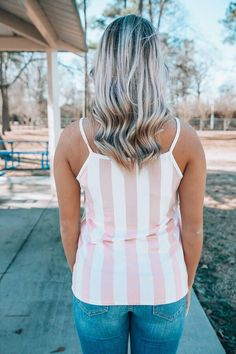Summer Breeze Tank Pink Stripe womens clothing boutique free shipping