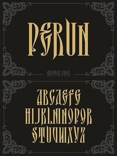 Perun. Display Fonts. $17.00 Calligraphy Letters Alphabet, Tattoo Fonts Alphabet, Typography Alphabet, Typography Fonts, Vintage Typography, Vintage Logo Design, Tattoo Lettering Styles, Graffiti Lettering Fonts, Types Of Lettering