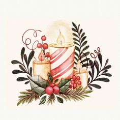 Lovely watercolor christmas card with cute characters Vector Watercolor Christmas Cards, Christmas Drawing, Christmas Paintings, Watercolor Cards, Christmas Candle Decorations, Christmas Candles, Christmas Love, Christmas Signs, Christmas Clipart