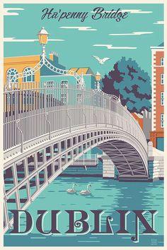 Dublin, Ireland Ha'penny Bridge travel poster - New Site Dublin Travel, Ireland Travel, Voyage Dublin, Drawing Simple, Ireland Landscape, Travel Wall, Travel Illustration, Vintage Travel Posters, Vintage Ski