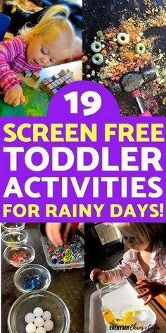 Toddlers driving you crazy on a rainy day? Here are 19 SCREEN FREE, indoor toddler activities to keep them busy and you sane! Toddlers driving you crazy on a rainy day? Here are 19 SCREEN FREE, indoor toddler activities to keep them busy and you sane! Indoor Activities For Toddlers, Toddler Learning Activities, Infant Activities, Preschool Activities, Summer Activities, Rainy Day Kids Activities, Outdoor Activities, Activities For 4 Year Olds, Easy Crafts For Toddlers