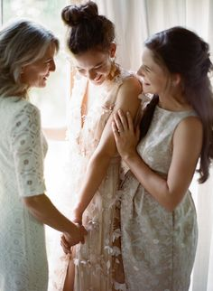Intimate moment shared with mother and sister.