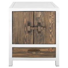 Stainless steel nightstand with a lower drawer.   Product: NightstandConstruction Material: Stainless steel and w...