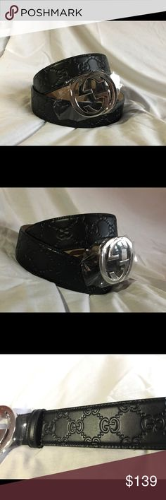 Authentic Men Gucci Belt Guccisima Black 32 34 Authentic Gucci Belt Black Guccisima Silver Buckle -100% Authentic -If unsure about sizing please ask -Some people will fit into 2 different sizes so if one size is sold out there should be another size that will fit you  BUNDLE FOR DISCOUNTS  PLEASE SEND ALL REASONABLE OFFERS! Gucci Accessories Belts