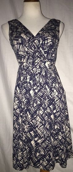 Anthropologie Fei Blue White Printed Jersey Pockets M Free Expedited Shipping #Anthropologie #EmpireWaist #Casual