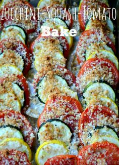 "This vegetable bake is a wonderful and ""pretty"" clean eating recipe! Made with fresh Zucchini, Summer Squash and Tomato, it' perfect with any grilled chicken or fish."