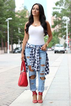 Bodysuit, Forever 21 Destroyed Denim, Plaid Shirt, Red Bag