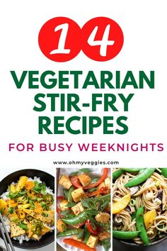 Need some fresh vegetarian dinner ideas? These are the best vegetarian stir fry recipes on the web! Easy and delicious weeknight meals that are meatless too. #vegetarian #stirfry #meatless #plantbased