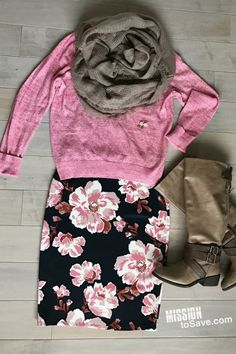 Floral skirts are a hot new fashion trend. See how to style a floral skirt for all 4 seasons! This is the winter outfit. The pink sweater makes the flowers in the skirt pop. The winter wardrobe essential infinity scarf and boots complete the look.