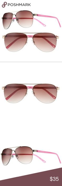 Juicy Couture Pink & Gold Aviator Sunglasses NWT These stylish Juicy Couture sunglasses feature a semirimless aviator design.  PRODUCT FEATURES Semirimless design Aviator styling UVA/UVB protection  Eye/bridge/temple/vertical size: 55/13/140/49 mm Pink Plastic temple Gold Metal rim Brown gradient lenses Juicy Couture Accessories Sunglasses