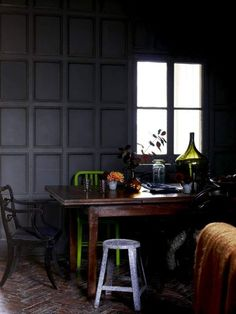 can't get enough of this smoky grey pallet.  perfect for our dark and paneled middle room.