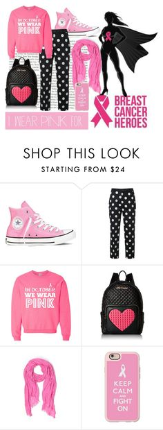 """#IWearPinkFor2"" by aliss90 ❤ liked on Polyvore featuring Topshop, Converse, Guild Prime, Betsey Johnson, J.Crew, Casetify and IWearPinkFor"