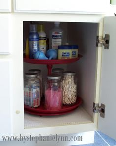 "Loving this ""lazy susan"" idea for under the sink! Would help so much/ 15 Storage Solutions For Your Bathroom"