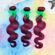 $74.32 28 Inches Laconic Long Wavy Wine Red Human Hair Hair Extension For Women