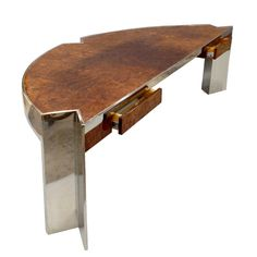 1stdibs | Large Stainless Steel with Burlwood Executive Desk by Leon Rosen