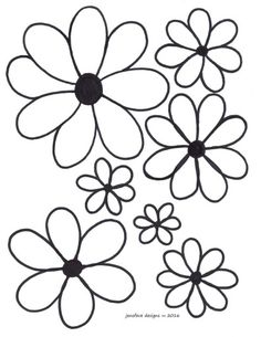 Flowers Stencil Patterns, Hand Embroidery Patterns, Applique Patterns, Flower Patterns, Quilt Patterns, Simple Flower Drawing, Flower Art Drawing, Simple Flowers, Mexican Embroidery
