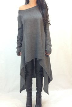 Grey Asymmetrical Sweater Top Long Sleeve Sweater dress Knitwear cotton dress long women knitted sweater coat loose  plus sizecotton blouse on Etsy, $59.99