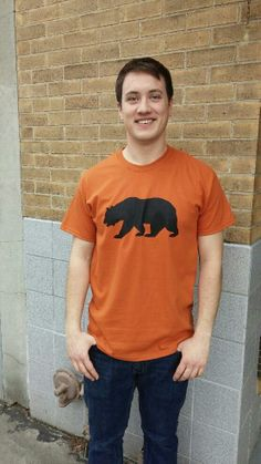 Men's T-shirt orange- Short sleeve - spring style fashion @ Black Bear Trading Asheville N.C.
