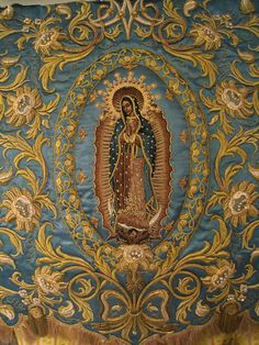 Detail of an estandarte, or processional banner, for Our Lady of Guadalupe; design and execution by Vincent Canlas of Nuevo Siglo