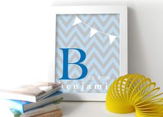 Blue Gray Chevron Baby Boy Nursery Art Print - Monogram Baby Room Decor 8x10 Nursery or Kids Room Wall Art. $16.00, via Etsy.
