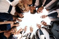 This one is interesting. Love the perspective!   30 Fun Bridal Party Photos | Wedding Planning, Ideas & Etiquette | Bridal Guide Magazine