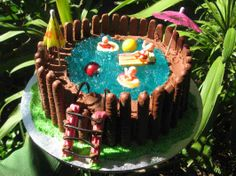 Acid flash back. I just saw someone talking about this jelly swimming pool cake on the telly, and I swear my friends mum made this for her birthday   one year! Back in the day I thought it was incredible!