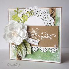 kraft & green - doily, flower, leaves, ornament border - print or stencil