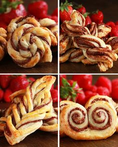 Puff Pastry & Nutella - 4 ways - beautiful! Tasty Videos, Food Videos, Puff Pastry Desserts, Nutella Puff Pastry, Sweet Puff Pastry Recipes, Puff Pastry Appetizers, Pastries Recipes, Mini Pastries, Breakfast Pastries