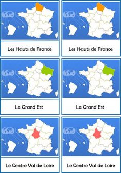 Remue Méninge: Regions of France: nomenclature cards Cattle Farming, Montessori Education, Ville France, Camping Gifts, Cycling, Mountain Biking, Images, Diagram, World