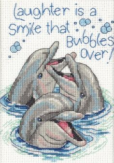 Cross Stitch | Dimensions Counted Cross Stitch, Laughing Dolphins