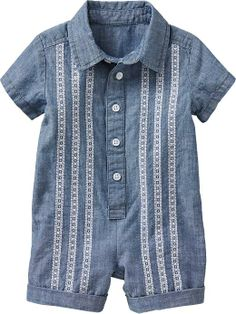 Embroidered Chambray Rompers for Baby ON on sale $18