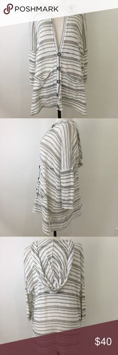 """Beyond Yoga knit striped hooded sweater large Beyond Yoga knit gray and white striped hooded sweater. 67% polyester, 38% cotton, 5% spandex. Approximate flat measurements: 31"""" length, 28"""" bust. Great condition! Beyond Yoga Sweaters"""
