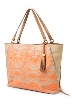 Aztec Coral & Tan Linen Shoulder Bag | The Switch: Aztec Coral | Stylist Lounge : Stella & Dot