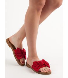 Women's slippers made of eco-leather imitating suede. A beautiful bow is their undisputed decoration, and the edge finish with an original stitching makes the shoes look much Red Slippers, Womens Slippers, Bow Season, Plastic Heels, Types Of Heels, Artificial Leather, Suede Leather, Spring Summer Fashion, Bows