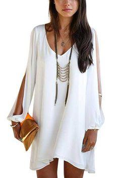V-neck Dress With Split Sleeve In White - US$15.95 -YOINS