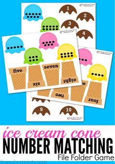 As the weather warms up, enjoy the summer heat with this cool ice cream cone themed number matching file folder game! As the weather warms up, enjoy the summer heat with this cool ice cream cone themed number matching file folder game! Preschool Math Games, Numbers Preschool, Preschool Lessons, Preschool Learning, Preschool Activities, Kids Learning, Preschool Printables, Math Games For Preschoolers, Preschool Summer Theme