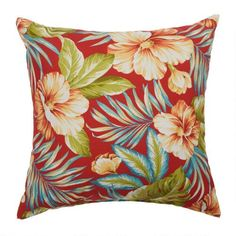 One of my favorite discoveries at ChristmasTreeShops.com: Red Tropical Indoor/Outdoor Square Throw Pillow