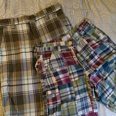 Boys plaid size 8 shorts bundle Probably worn once by my son...the brown/turquoise pair is by Old Skool and the blue patchwork one is Arizona Bottoms Shorts