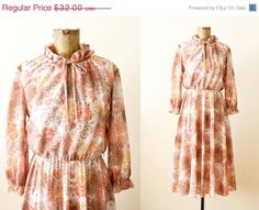 1970s dress/ floral 70s sundress/ 70s fall by MILKTEETHS
