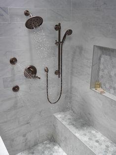 Traditional TempAssure® Series Valve Trim with Integrate… – Marble Bathroom Dreams Master Bathroom Shower, Zen Bathroom, Steam Showers Bathroom, Bathroom Faucets, Small Bathroom, Bathroom Ideas, Bathroom Organization, Bathroom Mirrors, Master Bathrooms