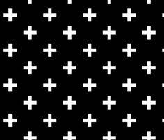 black white swiss cross BLACK fabric by babynell on Spoonflower - custom fabric