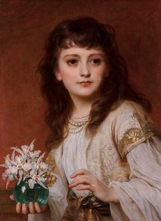 Thomas Francis Dicksee – A young beauty holding a vase of orchids