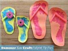 Summer Kids Craft Footprint Flip Flops is part of Summer crafts Preschool - SavingSaidSimply com EASY Summer Kids Craft Footprint Flip Flops Daycare Crafts, Baby Crafts, Toddler Crafts, Preschool Crafts, Fun Crafts, Cool Kids Crafts, Crafts Toddlers, Nature Crafts, Summer Crafts For Kids