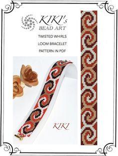 Twisted whirls in jewel colours LOOM bracelet PDF pattern instant download