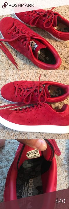 Red suede Adidas Stan Smith sneakers Very good condition. Only worn a few times. Pretty TRD suede, perfect for fall adidas Shoes Sneakers