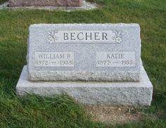 Tombstone Tuesday - William P & Katie (Schaadt) Becher, Zion Lutheran Cemetery, Chattanooga, Mercer County, Ohio. (2011 photo by Karen) #genealogy